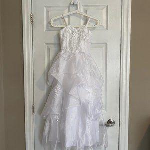 Girls' White Long Flower Girl Dress